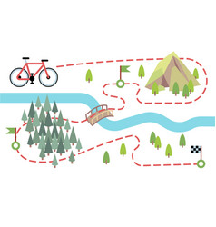 Bike route map cycling trip road country path vector