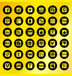 Black social network icons with golden background vector