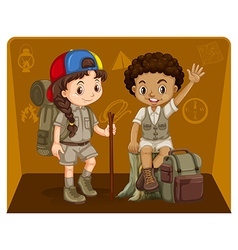 Boy and girl in safari outfit vector