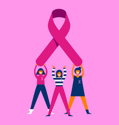 Breast cancer awareness month women friend group vector