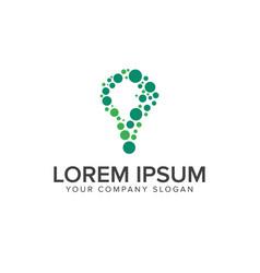 bulb circular logo design concept template vector image