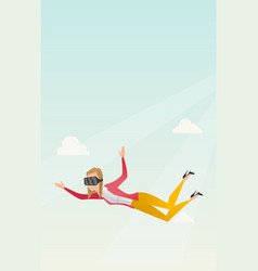 Business woman in vr headset flying in the sky vector