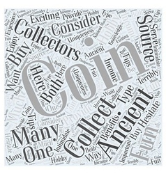 BWCC ancient coin collecting Word Cloud Concept vector image