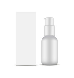 Cardboard box and cosmetic bottle with pump vector