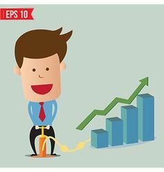 Cartoon Business man pumping graph - - EPS10 vector image