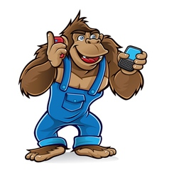 cartoon gorilla with mobile phones vector image