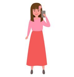 cartoon smiling girl make selfie icon vector image