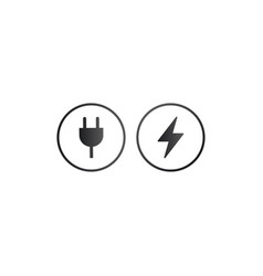 charger wall plug and lightning charging icon in vector image