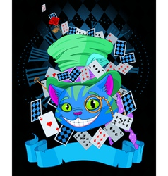 Cheshire cat in Top Hat design vector