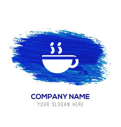 coffee cup icon - blue watercolor background vector image