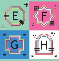 colorful capital letters e f g and h line emblems vector image