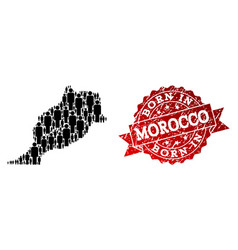 Crowd collage of mosaic map of morocco and vector