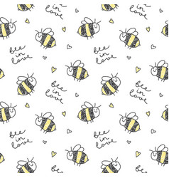 Cute bees pattern vector