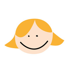 cute girl head drawing character vector image