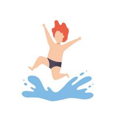 Cute happy boy jumping in water kid having fun on vector