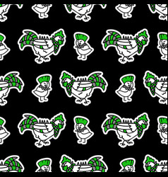 Cute punk rock chicken and chick on black vector