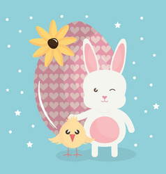 cute rabbit with easter egg painted and chick vector image
