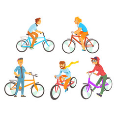 Cyclists riding bike set for label design vector