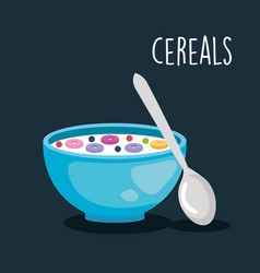 Delicious cereal breakfast food with spoon vector