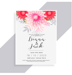 Elegant flower and leaves beautiful wedding card vector