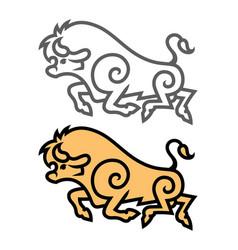 Energetic galloping bull vector