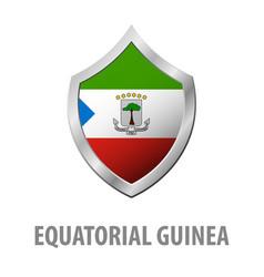 Equatorial guinea flag on metal shiny shield vector