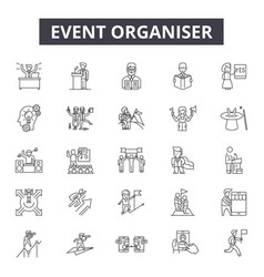 Event organizer line icons signs set vector