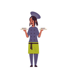 Female chef cook holding trays with fresh sushi vector