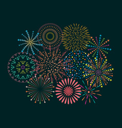 Firework icon set with petard stars festival vector