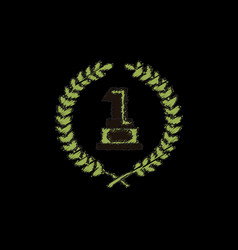 First place icon golden number one symbol in vector