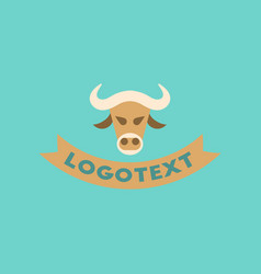 Flat icon on background bull logo vector