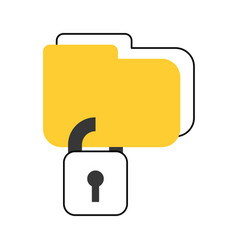 Folder with safe secure padlock icon vector