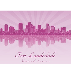 Fort Lauderlade skyline in purple radiant orchid vector