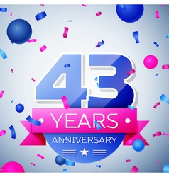 Forty three years anniversary celebration on grey vector image