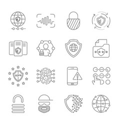 Gdpr data privacy icon set included vector