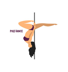 Girl dancing pole dance on a vector