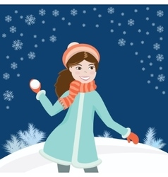 Girl with snowball3 vector
