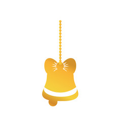 gold bell with ribbon bow hanging to merry vector image