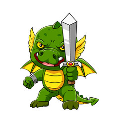 Green dragon with little wings vector