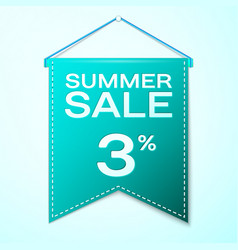 Green pennant with inscription summer sale three vector