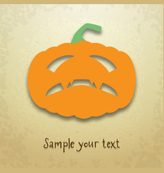halloween card with gloomy pumpkin vector image