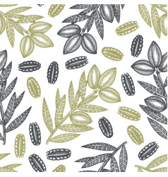 hand drawn pecan branch and kernels seamless vector image