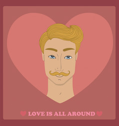 handsome young man with mustache on pink red heart vector image