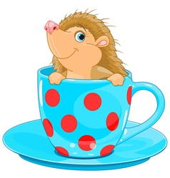 Hedgehog in the tea cup vector image