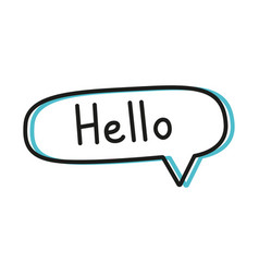 Hello handwritten text in speech bubbles vector