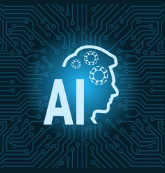 human head artificial intelligence icon over blue vector image