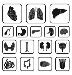 human organs black icons in set collection for vector image