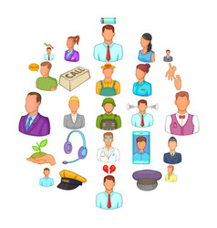 human resource icons set cartoon style vector image