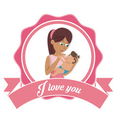 i love you mom card mother and baby together vector image