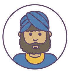 indian man avatar man in turban icon indian man vector image
